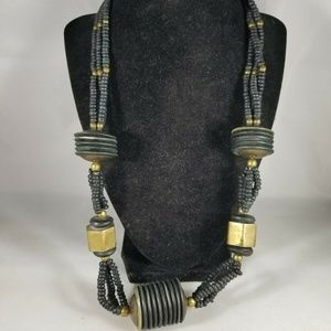 Steampunk Metal Plastic Beaded Necklace